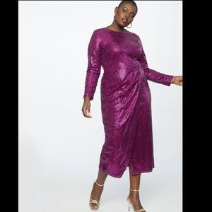 ELOQUII Sequin Magenta Maxi Dress with Wrap Skirt